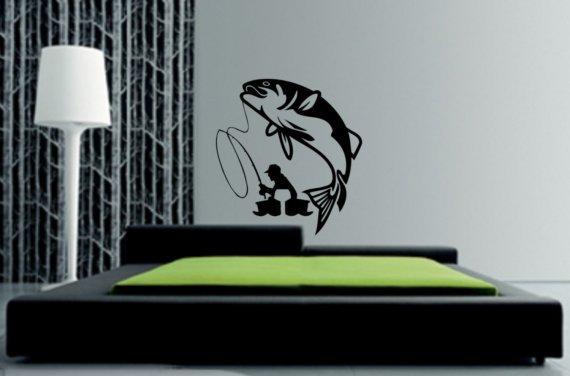 FISHERMAN DECAL STICKER FISHING WALL GRAPHIC FISH BOAT