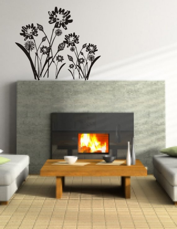 Spring Meadow Wall Decal Mural Sticker Flowers Flower