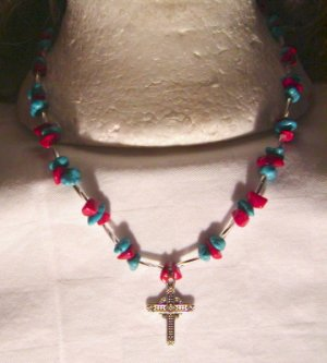 Numbered Hand Crafted Turquoise Coral Silver Necklace. Price: 19.95