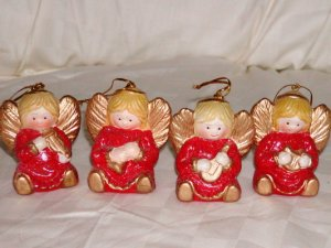 "4  Porcelain Angels Cmas Ornaments Size: 2 3/4"" H x 2 7/8"" W Price: 3.95"