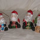 "4  Porcelain Santa Claus Christmas Ornaments Size: 2 3/4"" H x 2 7/8"" W Price: 3.95"