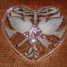 "Gorham Holiday Traditions Cmas ""Cardinals 7"" Heart Dish"" Crystal w/ Embossed Image Price: 12.95"