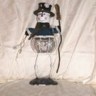 "Blown Glass Tealite Holder Snowman  Size: 13 1/2"" H x 4 3/4"" W x 4 1/4"" D  Price:9.95"