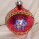 HandCrafted Red Glass Christmas Ball Ornament w/Flower Design Price: 3.95
