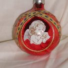 HandCrafted Red Glass Christmas Ball Ornament w/an Angel Design Price: 3.95