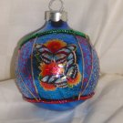HandCrafted Blue Glass Cmas Ball Ornament w/Multi Butterfly Design