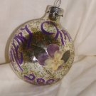 HandCrafted Silver Glass Cmas Ball Ornament w/Merry Cmas written, Flower, Glider Design Price: 3.95
