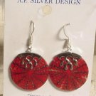 Red Bamboo Coral Sterling Silver Slice Dangle Earrings