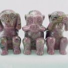 3 Hand Carved Rhodonite Morality Monkeys No Evil