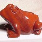 Hand Carved Red Jasper Frog
