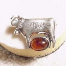 Baltic Amber Sterling Silver COW Pin