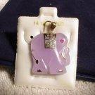 14K Gold LavenderJade Elephant Pendant