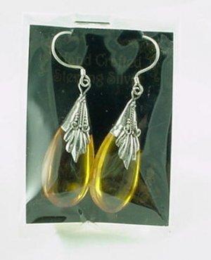 Honey Amber Sterling Silver Teardrop Earrings