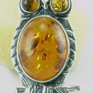 Baltic Amber Sterling Silver OWL Pin  Brooch