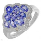 Genuine Tanzanite Diamond Sterling Silver Ring