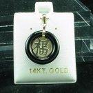 14K Gold Black Onyx FU Pendant Good Luck