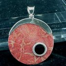 Big Bamboo Coral Slice Sterling Silver Pendant