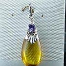 Honey Amber Sterling Silver Amethyst Pendant