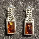 Honey Amber & Sterling Silver Chain Earrings