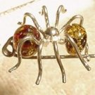 Green BALTIC AMBER & Sterling Spider Pin
