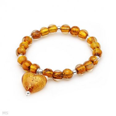 New Golden  Italian Murano Glass 925 Sterling Silver Bracelet