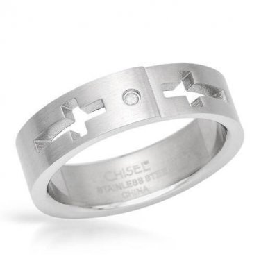 New Gentlemens Cross Ring With Genuine Diamond in Stainless Steel