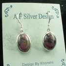 Rhodonite & Sterling Silver Dangle Earrings