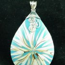 Big Natural Shell  Inlay Sterling Silver Pendant Pear