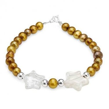 Sterling Silver Freshwater Pearl Bracelet with Murano Glass