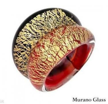 GENUINE MURANO GLASS Made in Italy 24k Ring 6 Venetiaurum