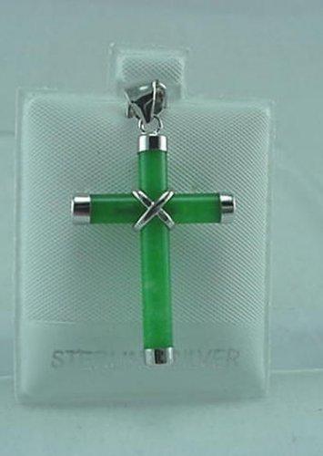 New Sterling Silver Jade Cross Pendant