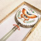 Hand Painted Butterfly on Porcelain Jade Mirror