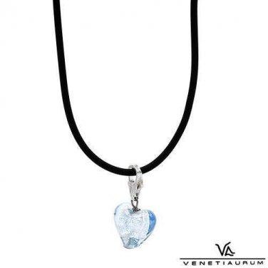 New VENETIAURUM Made in Italy Heart Necklace 925 Two tone Murano Glass