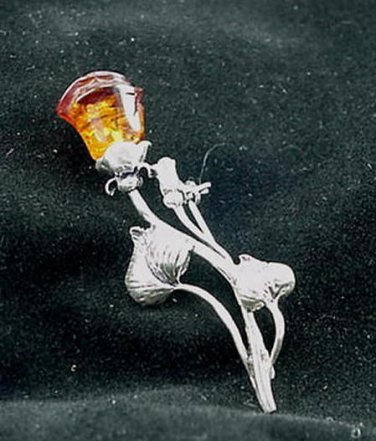 Large Baltic Amber Sterling Silver Rose Pin