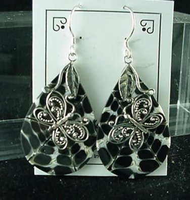 New Natural Shell  Inlay Sterling Silver Earrings Butterfly