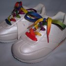 Girls Pearlized White with Rainbow Laces Toddler 8.5 Shoes Sneakers by Circo NEW