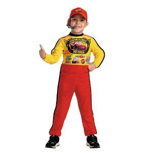 Cars Lightning McQueen Pit Crew Race Car Halloween Costume Child Boys Small 4-6 4T-5T Hat & Headset