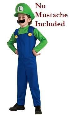 Super Mario Bros Luigi the Plummer Halloween Costume Child Boys Small 4-6 4T-5T