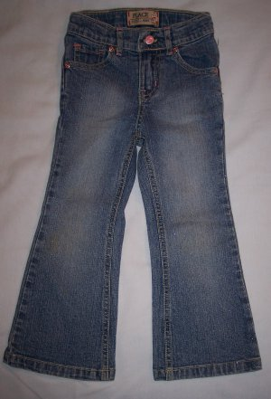 Girls The Children's Place Size 4T Sparkle Stretch Flare Denim Jeans
