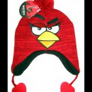 Girls Red Angry Birds Laplander Knit Beanie Hat Child One Size New