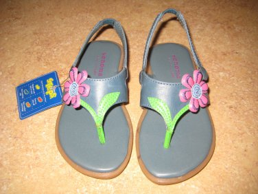 Sonoma Girls Blue Flip Flop Back Strap Sandals Shoes Toddlers Size 6 6T