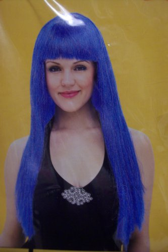 24 Inch Long Blue Adult Standard Wig Party Halloween Costume Accessory