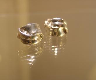 Silver Wave Stud Clip Earrings
