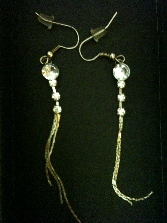 Silver Rhinestone Dangle Earrings
