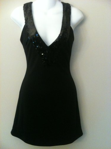 XS -Sequins Hollywood Black Cocktail Dress