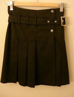 S- Pleated Buckle Skirt in Black