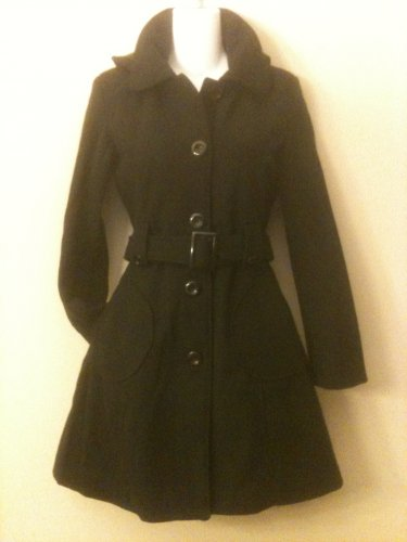 M- Black Hooded A-Line Wool Mid length Coat
