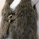 M- Grey Faux Ostrich Fur Vest