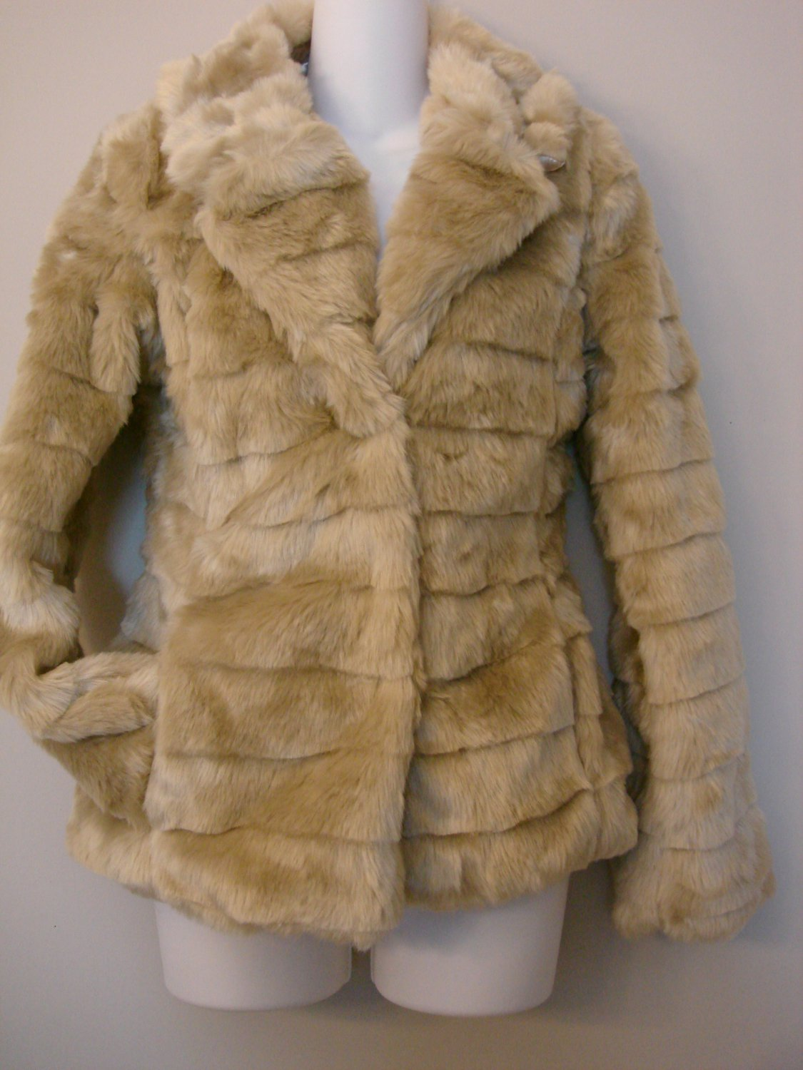 S- Brown Faux Fox Fur Coat