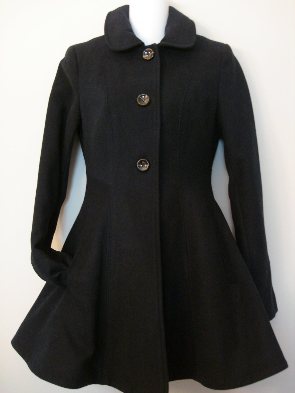 XS- Navy Blue Circle Dress Coat